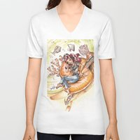 led zeppelin V-neck T-shirts featuring The Little Mermaid Ariel Turntable Led Zepellin 70s Art by AnthonyHelmer