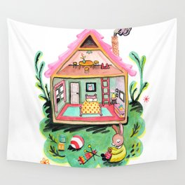 Rebecca Rabbit, Her House, and Her Belongings Wall Tapestry