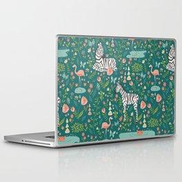 Wild Zebras in Green Garden Laptop & iPad Skin