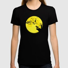Bull Terrier Dog And Moon Halloween Costume Gift T-shirt