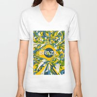 brazil V-neck T-shirts featuring Abstract Brazil by Danny Ivan