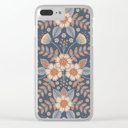 Slate Blue, Cream & Peach Floral Pattern - Pastel Flowers & Leaves Clear iPhone Case
