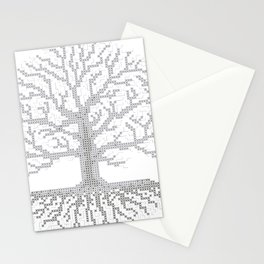 Pixel Art - Cross Stitch Chart - Grey Tree of Life - Stationery Cards
