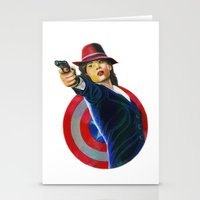 peggy carter Stationery Cards featuring Peggy Carter by Farah Jayden