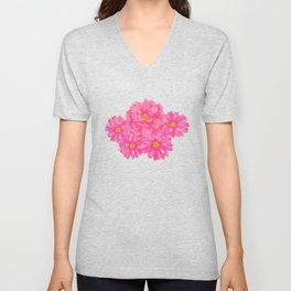 Flower Candy Stripe - Blue Unisex V-Neck