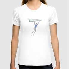 hang on to your paper airplane White SMALL Womens Fitted Tee