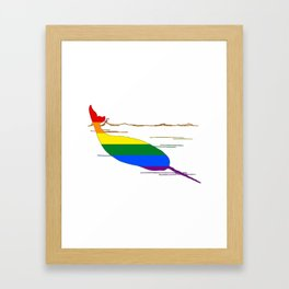 Rainbow Narwhal Framed Art Print