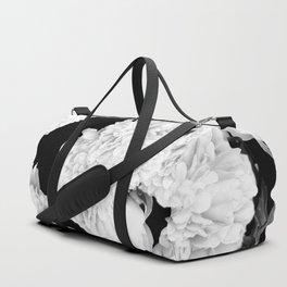 White Peony Flowers Black Background #decor #society6 #buyart Duffle Bag