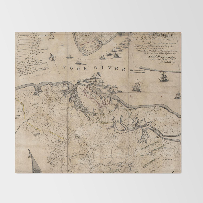 Vintage Battle of Yorktown Virginia Map (1781) Throw Blanket on west virginia state map, fredericksburg virginia state map, quantico virginia state map, manassas virginia state map, maryland virginia state map, northern virginia virginia state map, richmond virginia state map, james river virginia state map,
