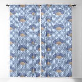 Japanese Fan, Dragonfly Pattern, Cobalt Blue Sheer Curtain