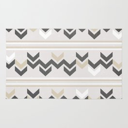 Geometric Arrowhead Charcoal Gold And White Grunge Pattern Rug
