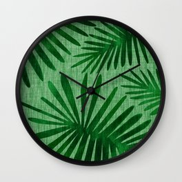 Emerald Retro Nature Print Wall Clock