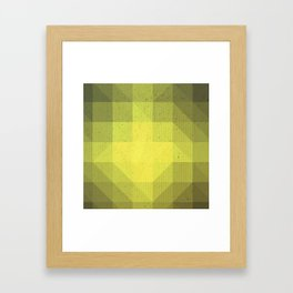 Kryptonite green poly pattern Framed Art Print