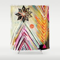 "flora bowley Shower Curtains featuring ""True North"" Original Painting by Flora Bowley by Flora Bowley"