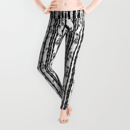 Bamboo Forest Pattern - White Black Grey Leggings