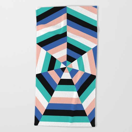 Heptagon Quilt 3 Beach Towel