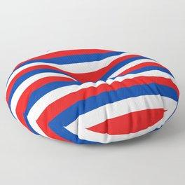 blue white red stripes Floor Pillow
