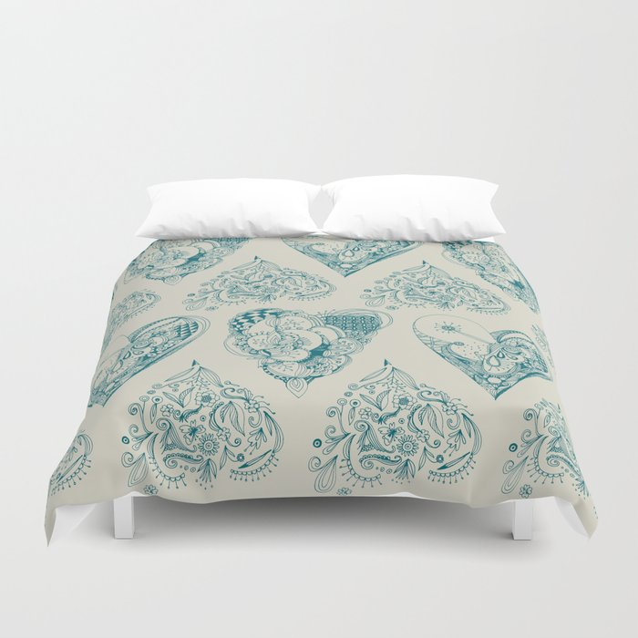 Blue and beige tangled heart pattern Duvet Cover
