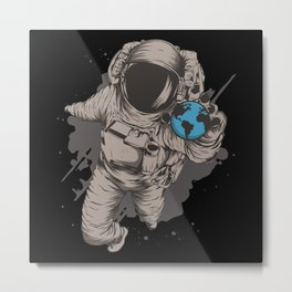 Astronaut With Earth Globe In His Hand Metal Print