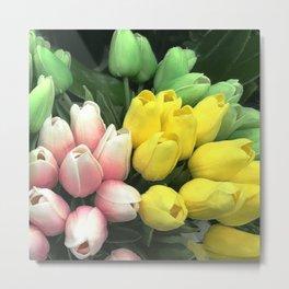 Pink, Meyer Yellow & Mint Green Tulip Buds Metal Print