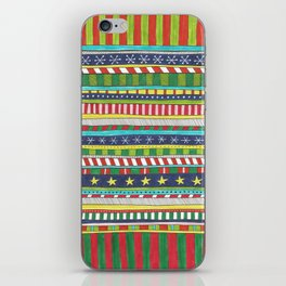 hand drawn christmasy striped pattern iPhone Skin