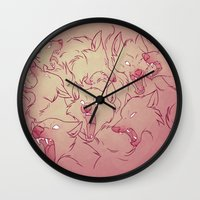 wolves Wall Clocks featuring Wolves by Beth Turnsek