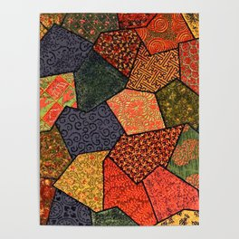 Japanese colorful quilt patchwork Poster