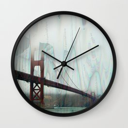 golden gate squiggles Wall Clock