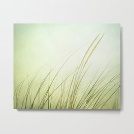 Beach Grass Photography, Calming Coastal Green Art, Zen Photo, Seashore Seaside Art Metal Print