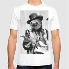 Rockstar Sloth #2 LARGE White Mens Fitted Tee