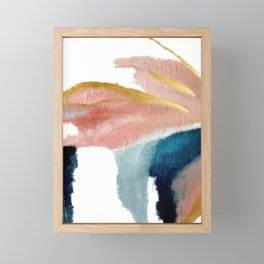 Exhale: a pretty, minimal, acrylic piece in pinks, blues, and gold Framed Mini Art Print