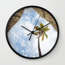 Virgin Gorda Batholithic Boulders and a Sunny Palm Tree Wall Clock