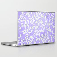 shabby chic Laptop & iPad Skins featuring Shabby Chic purple damask by Miriam Hahn