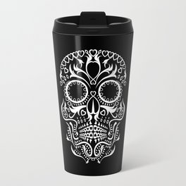 Day of the Dead Skull - Hearts Travel Mug