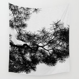 Pine Tree Black & White Wall Tapestry