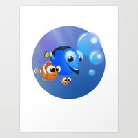 finding nemo Art Prints featuring Finding Nemo by David Rojas