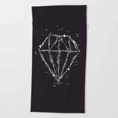 Drawing of a diamond Beach Towel