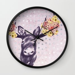 Flower Blossom Antlers Moose Head Wall Clock
