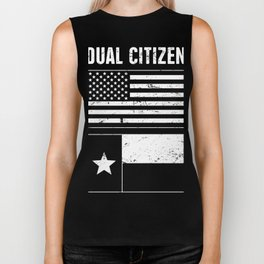 Dual Citizen Of The United States & Texas - Distressed Design Biker Tank