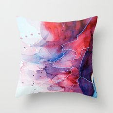 Watercolor magenta & cyan, abstract texture Throw Pillow