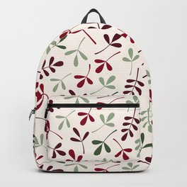 Assorted Leaf Silhouettes Reds Greens Cream Backpack