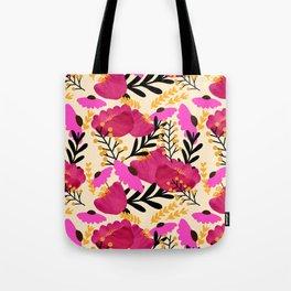 Vibrant Floral Wallpaper Tote Bag