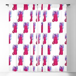 Cat and foliage - pink and purple Blackout Curtain