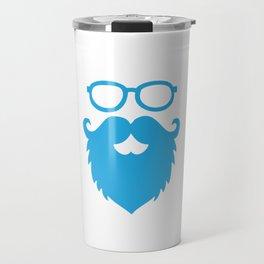 Hipster Beard Blue Travel Mug