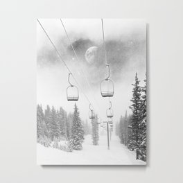 Ski Lift Moon Break // Riding the Mountain at Copper Colorado Luna Sky Peeking Foggy Clouds Metal Print