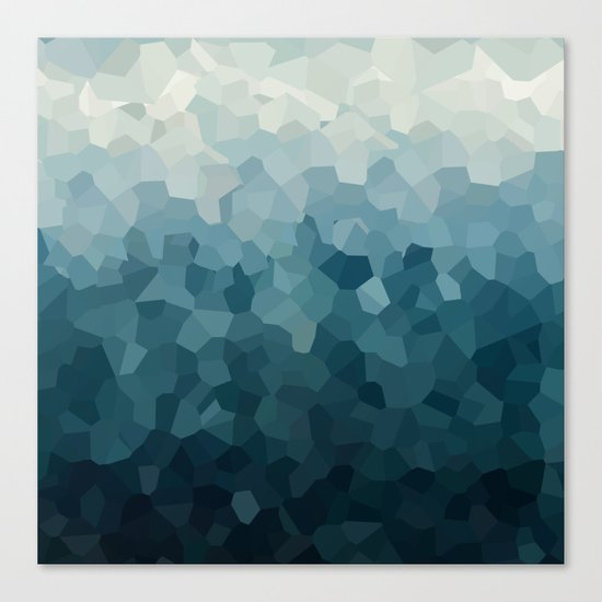 Ice Blue Mountains Moon Love Canvas Print