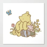 pooh Canvas Prints featuring Classic Pooh by kltj11