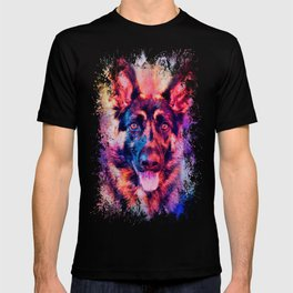 Jazzy German Shepherd Colorful Dog Art by Jai Johnson T-shirt