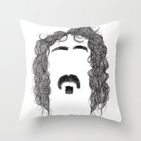 zappa Throw Pillows featuring Frank Zappa by Sára Szabó