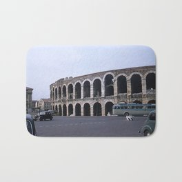 Vintage Color Photo * Verona Arena * Italy * 1950's * Antique Cars * Bus *Italian Bath Mat